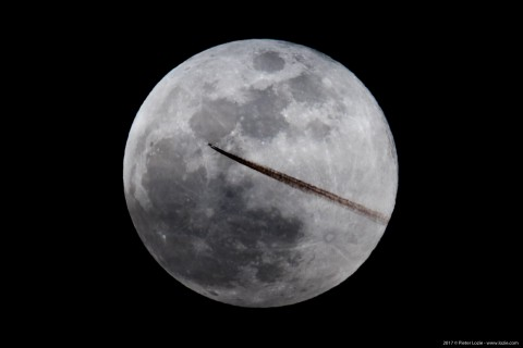 Full Moon with Ryanair Airliner